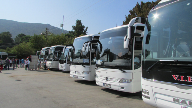 Tour buses arriving at the entrance